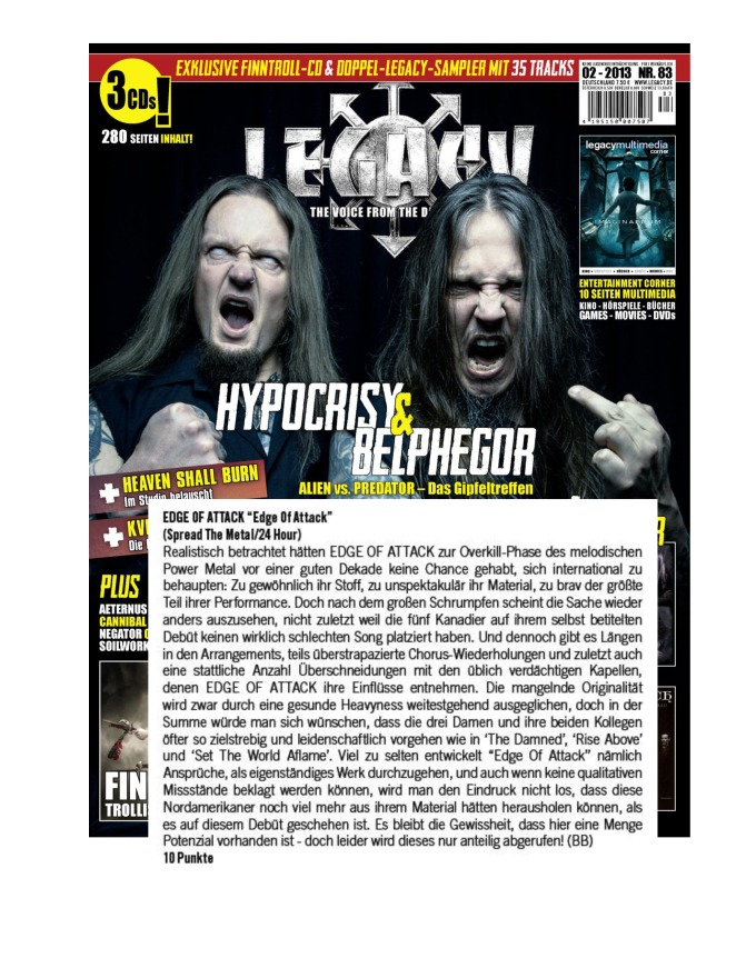FEBRUARY 2013 - LEGACY MAG - REVIEW - EDGE OF ATTACK