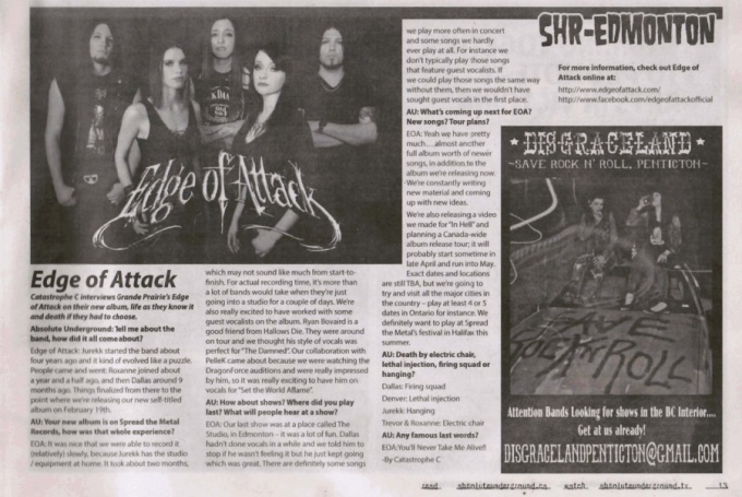March 2013 - Absolute Underground Mag - Edge of Attack Interview