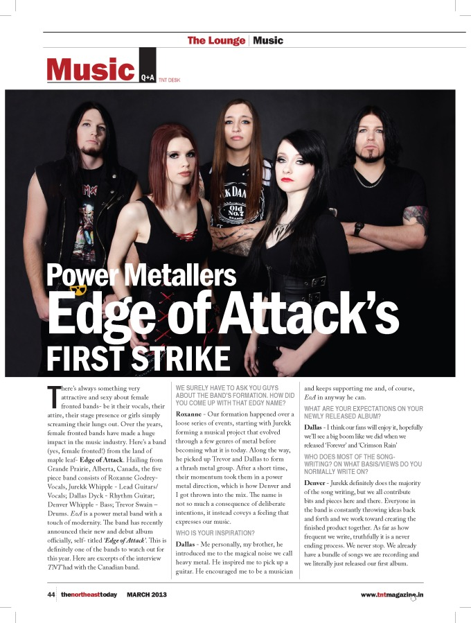 MARCH 2013 - TNT Magazine - PG 44 - INTERVIEW - EDGE OF ATTACK