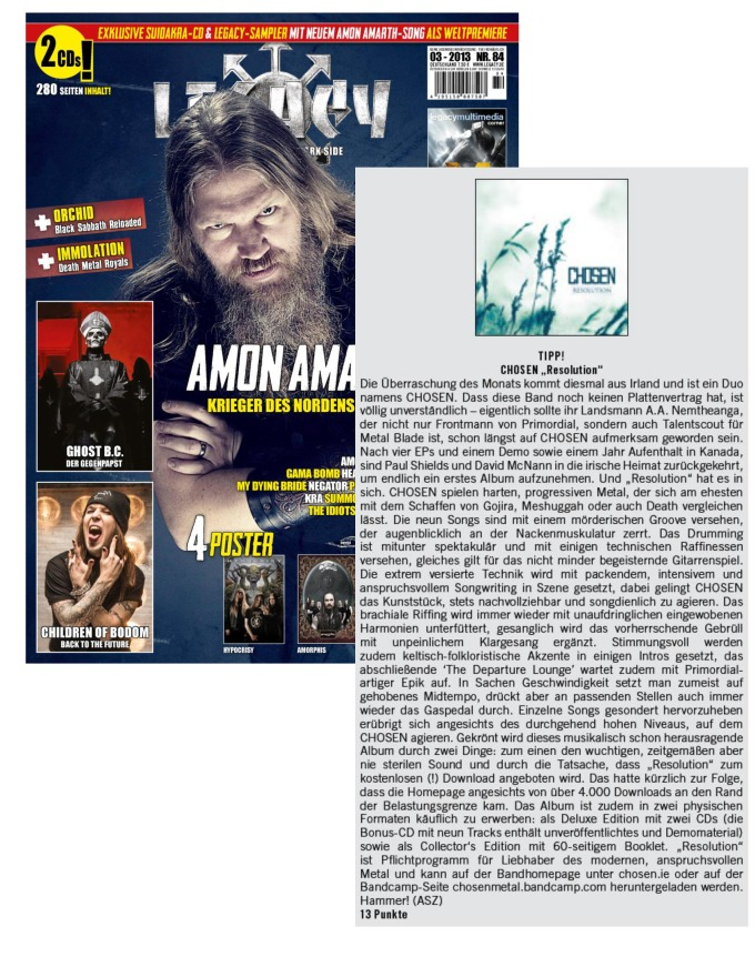 March 2013 - Legacy - Germany - Chosen Review