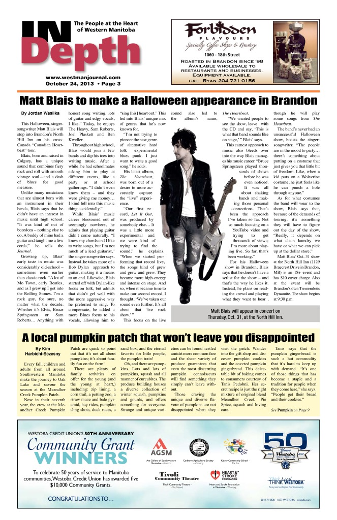 Oct 24 2013 Westman Journal - Matt Blais