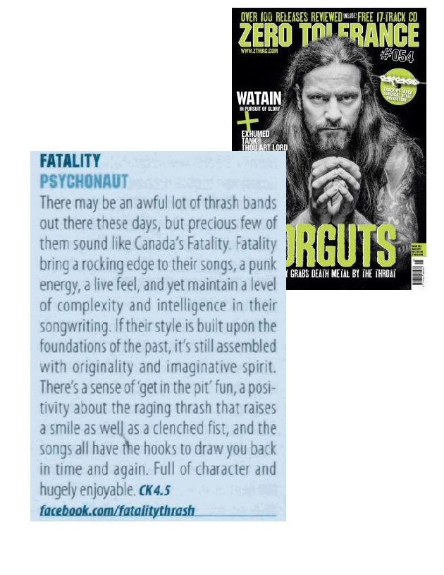 OCTOBER 2013 - ZERO TOLERANCE MAG - FATALITY - REVIEW
