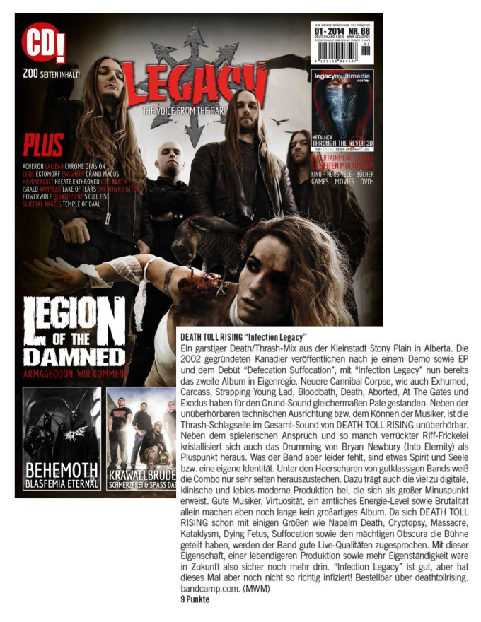 Jan 2014 - Legacy Mag - Death Toll Rising Review