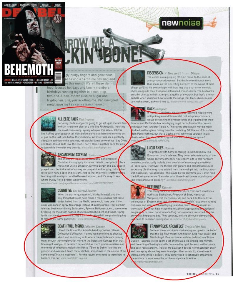 March 2014 - Decibel Mag - All Else Fails, Death Toll Rising, Dissension, Trainweck Architect, Lucid Skies
