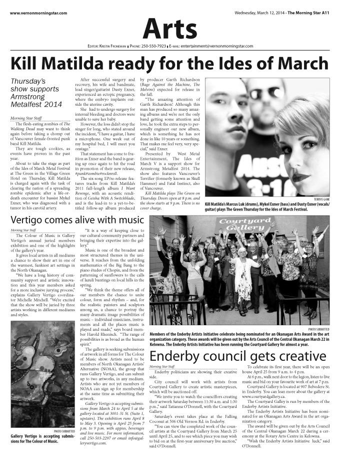 March 12 2014 - Vernon Morning Star - Kill Matilda
