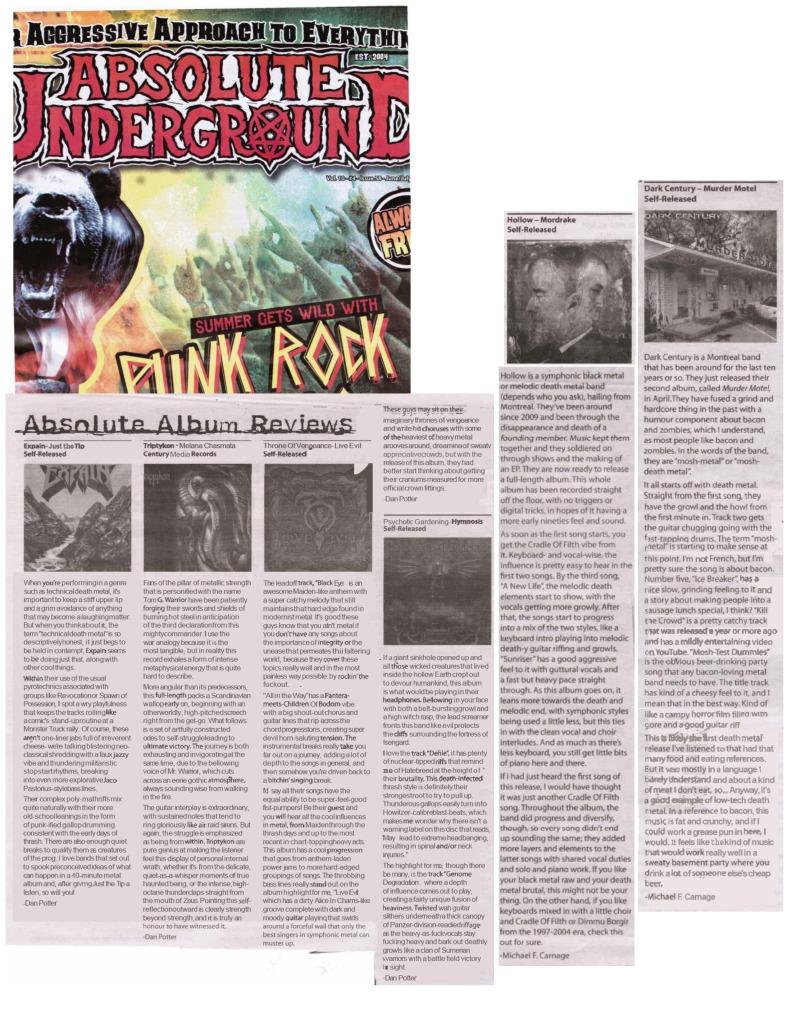 Absolute Underground Mag - reviews - Expain - Throne of Vengeance, Psychotic Gardening, Hollow, Dark Century