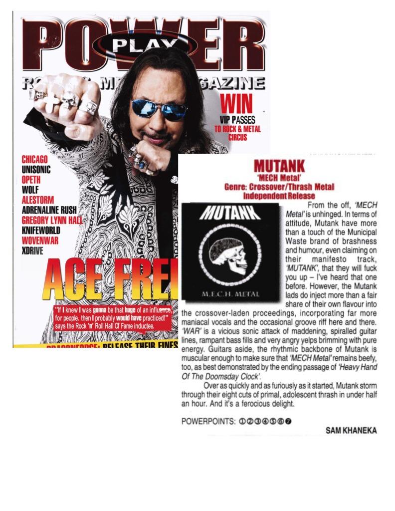 Aug 2014 - Powerplay magazine - review - MUTANK - M.E.C.H. METAL