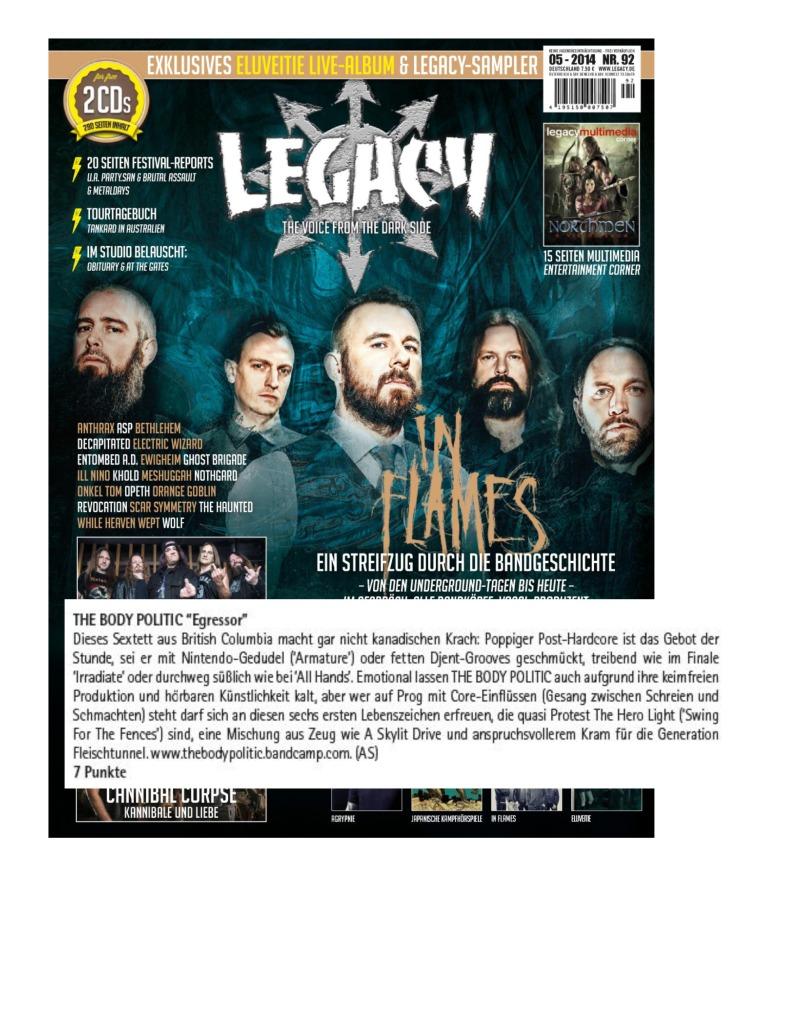Legacy Magazine - Germany - Body Politic - album review