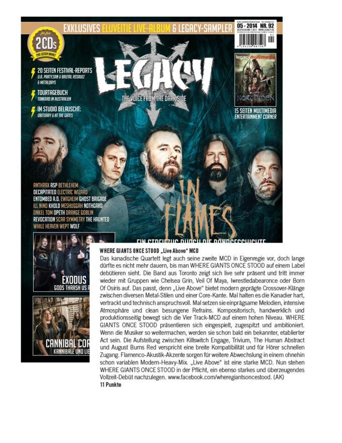 Legacy Magazine - Germany - WGOS - album review