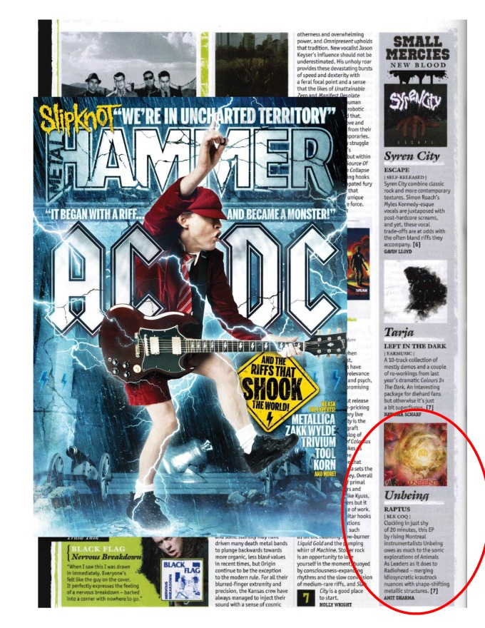 Sept 2014 - Metal Hammer Magazine - Unbeing - Review