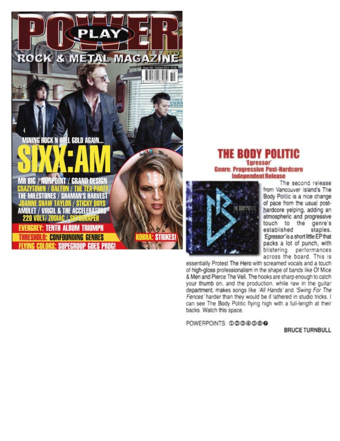 October 2014 - Power Play Mag UK - Issue # 169 - The Body Politic