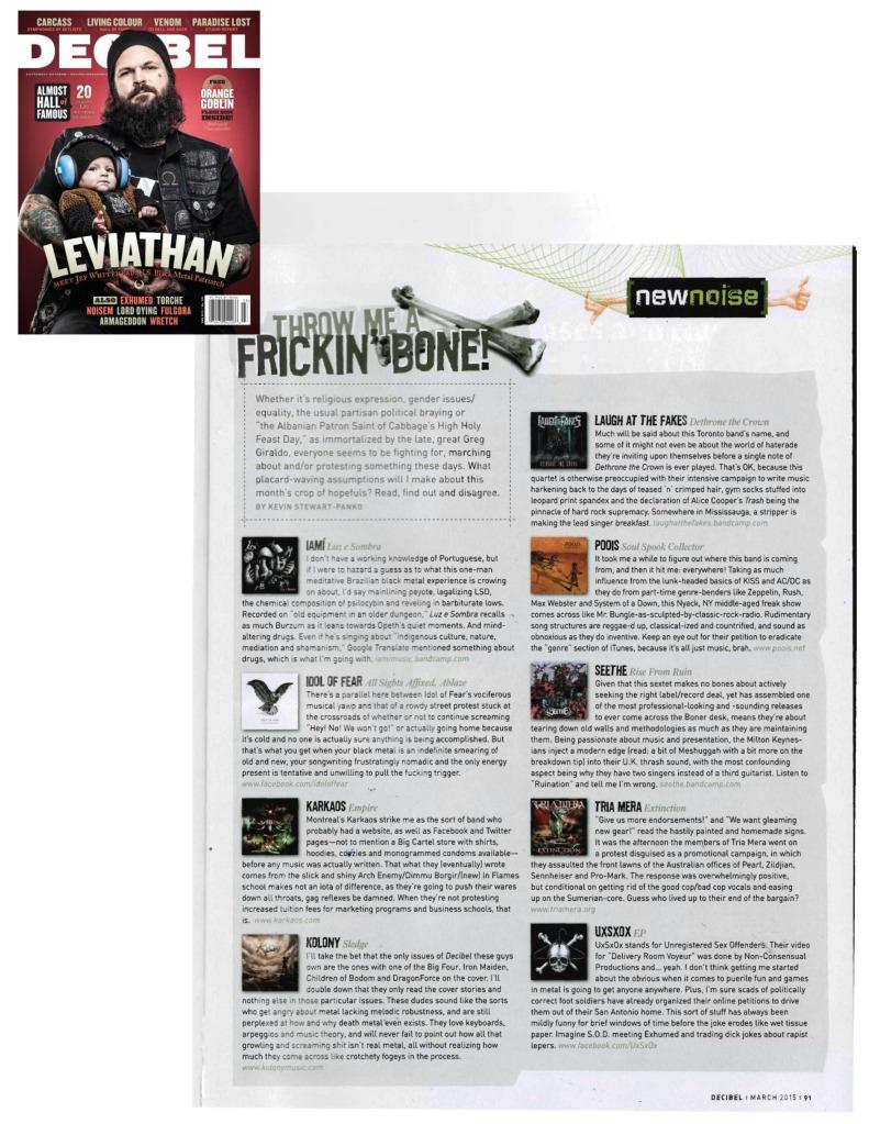 March 2015 - Decibel Mag #125 - Idol of Fear, LATF, Kolony, Karkaos