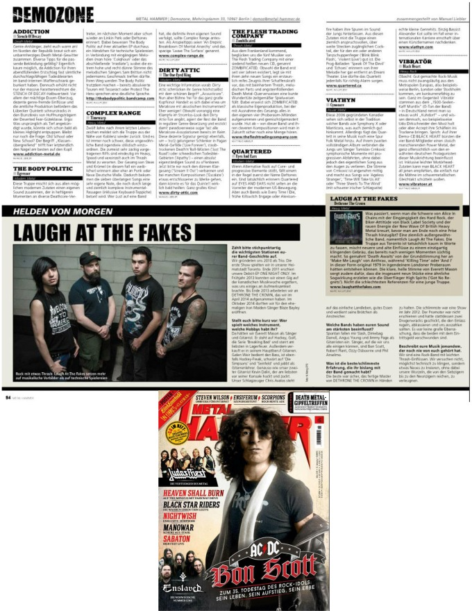 March 2015 - Metal Hammer Germany - Laugh At The Fakes, Viathyn, The Body Politic, Quartered