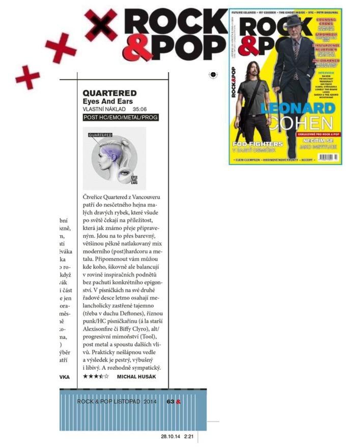 Nov 2014 - Rock and Pop - Czech - Quartered
