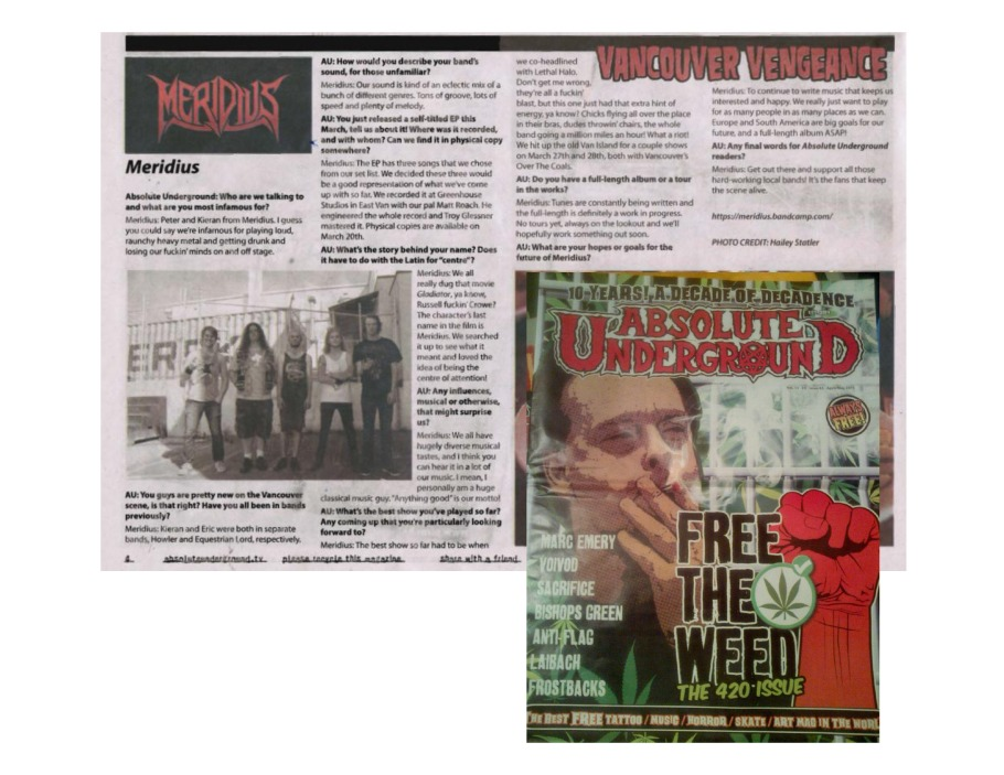 Absolute Underground Mag - Issue #63 - April-May 2015 - Meridius