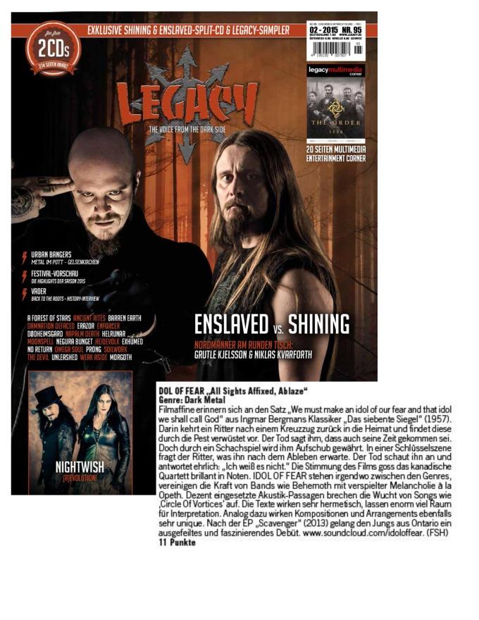 February - Legacy #95 - Idol of Fear