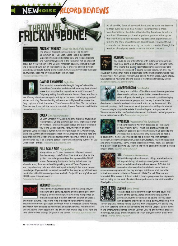 Sept 2015 - Decibel Mag - XUL + Meridius reviews
