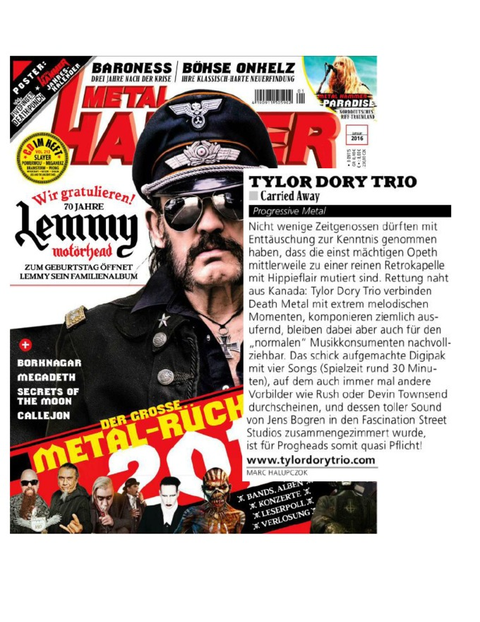 January 2016 - Metal Hammer Germany - Tylor Dory Trio